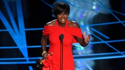"""Viola Davis accepts the award for best actress in a supporting role for """"Fences"""" at the Oscars on Sunday, Feb. 26, 2017, at the Dolby Theatre in Los Angeles. (Photo by Chris Pizzello/Invision/AP)"""