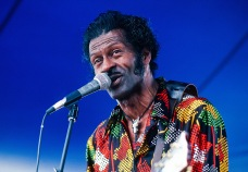American R&B and Rock musician Chuck Berry performs onstage at the New Orleans Jazz & Heritage Festival, May 1981. (Photo by Chuck Fishman/Getty Images)